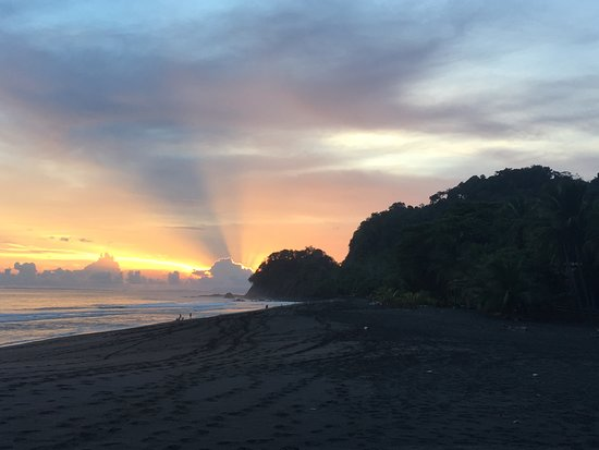 Sunset view from the beach at Sandpiper Hotel in Playa Hermosa, Jaco, Puntarenas, Costa Rica