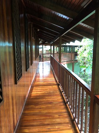 Puerto Viejo de Sarapiqui, Costa Rica: Beautifful and well maintained wooden pathway between the rooms.