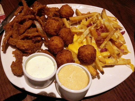 Aussie Signature Sampler With Onion Petals Mac Cheese Bites Cheese Fries Picture Of Outback Steakhouse Skokie Tripadvisor