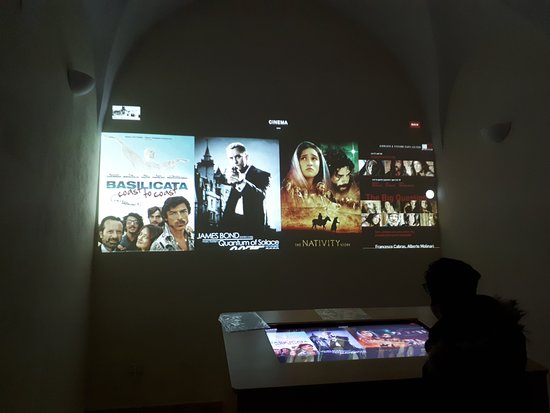 Multimedia room of the museum (pictures of Craco before and now - trailers of films made in Crac