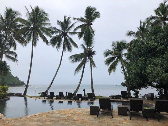 Beqa Island, Fiji: Infinity edge pool overlooking the ocean.