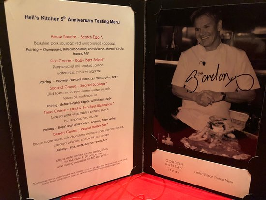 gordon ramsay hells kitchen dinner menu - Hells Kitchen Menu