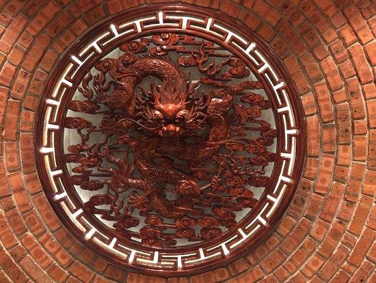 Perak, Malaysia: Dragon decor on the wall upstairs
