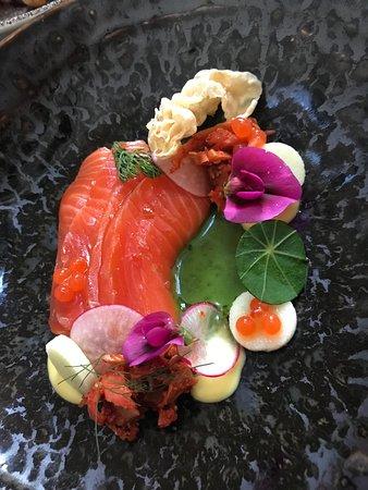 Logan Brown : Apple Cured Ōra King Salmon, Rhubarb Kimchi, Wild Weeds Puree & Salmon Caviar