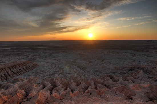 Balkanabat, Turkmenistan: sunset over canyon