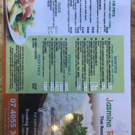 Jasmine Rice Restaurant: New menu
