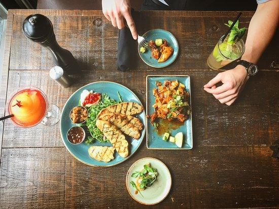 Bellini - Mediterranean Goat Cheese Platter - Asian Chicken Bites - Lime Mojito