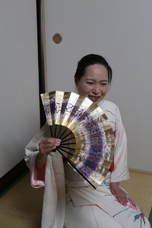 Green Rose Calligraphy: With a Japanese traditional fan