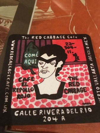 Red Cabbage Cafe: A coaster from Red Cabbage.