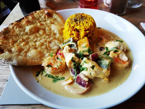 Pitlessie, UK: Monkfish and prawn Thai curry. Absolutely delicious!!