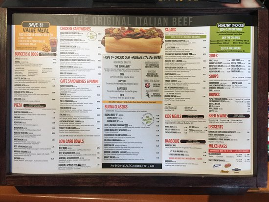 Hillside, IL: Buona Beef menu