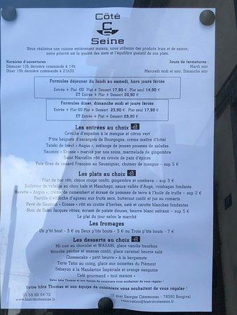 Bougival, Frankreich: Carte du restaurant Côté Seine.