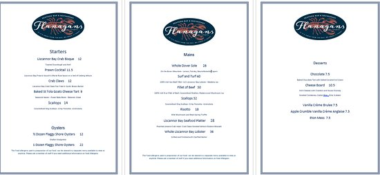 sample restaurant menu picture of flanagans seafood bar and