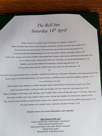 Horndon-on-the-Hill, UK: Menu