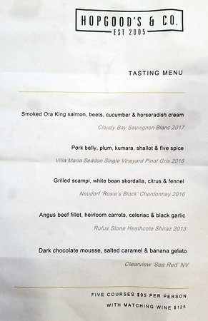 Hopgoods: The wine paring menu offered on March 17, 2018