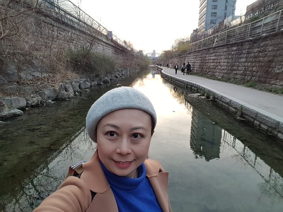 In the middle of Cheonggyecheon Stream