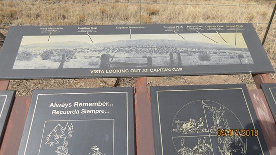 Capitan, NM: Highway marker showing where he was found
