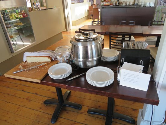 Borgarnes, Iceland: Wellness Buffet soup - today it was leek soup - note the fresh loaf of bread.