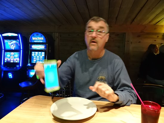 Cooke City, MT: Me inside, with casino games in the back ground...just what you want for a dinner atmosphere
