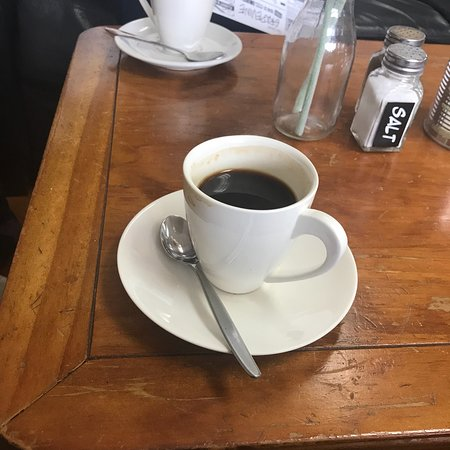 Dannevirke, New Zealand: this coffee is a long black and it is bitter