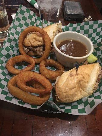 West Fargo, ND: Blarney Dip - Seasoned Tender Roast Beef on a Grilled Hoagie Bun with Garlic Aioli.