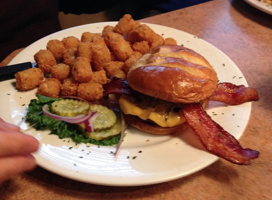 Saint Joseph, MN: Bacon burger with tater tots