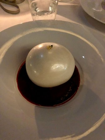 Signature dome sphere dessert. Was kinda fun, but mostly tasted like sugar in various forms.