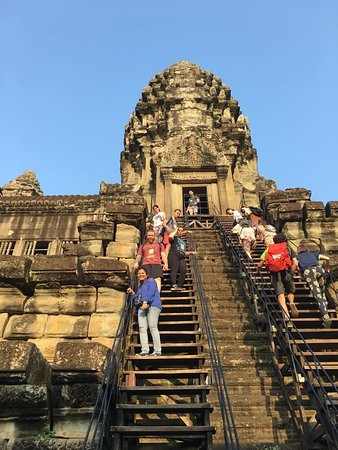 David Angkor Guide - Private Tours: me climbing down the angkor steps from 3rd tier