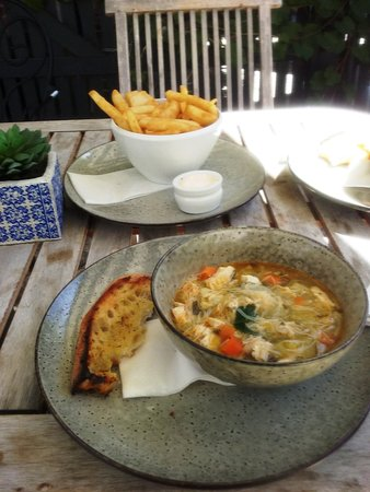 Keith, Australia: Chicken Noodle Soup with Beer coated chips