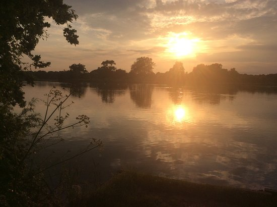 Hurst, UK: Sunset over the lake from a previous visit