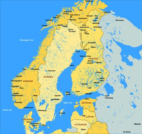 Scandinavia map with highlights by STG - Picture of Scandinavian ...
