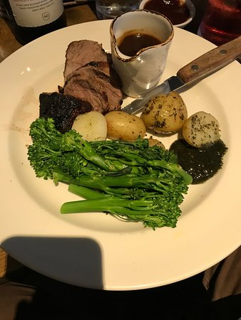 Polegate, UK: Lamb rump with potatoes and broccali
