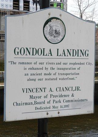 La Gondola: Sign indicating the gondola dock.