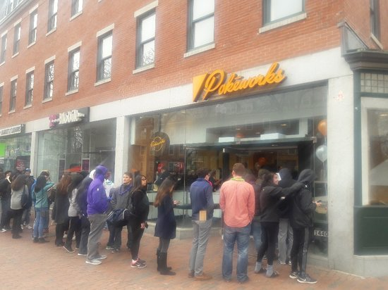 Pokeworks: Lined up to eat