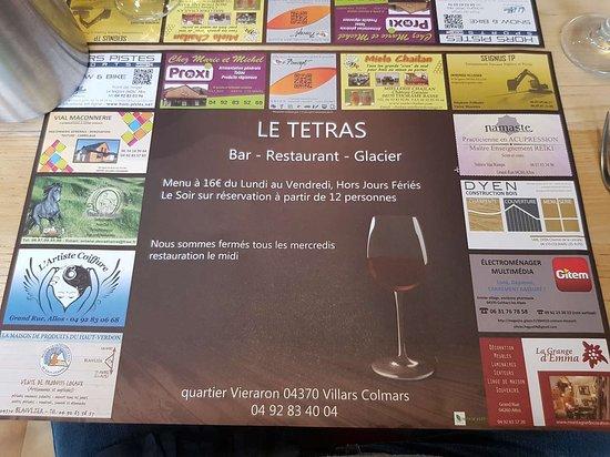 Villars-Colmars, France: Tel et nom restaurant / Dessous plat