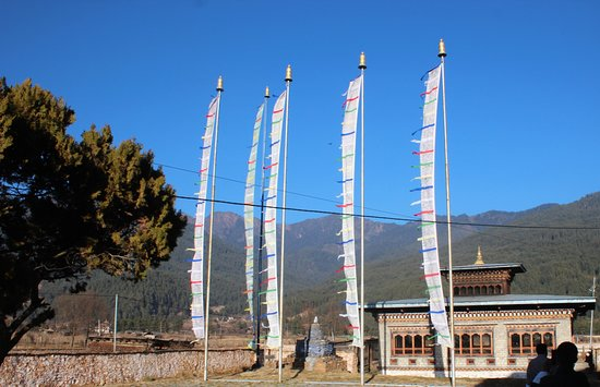 Jakar, Bhutan: prayer flags fluttering in the wind