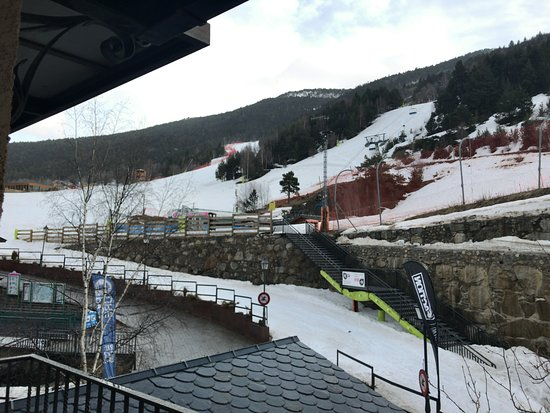 El Tarter, Andorra: View from the balcony of room 504. The staircase along the stone wall is the one up to the lift.