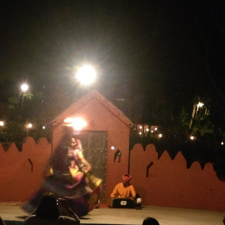 Chokhi Dhani: People who did welcome are now again dancing here. And rajsthani folk dance and veg thali