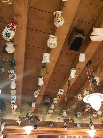A la Bricola: Cups hanging from the ceiling