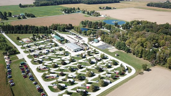 Shelby, OH: Aerial view of pull thru sites