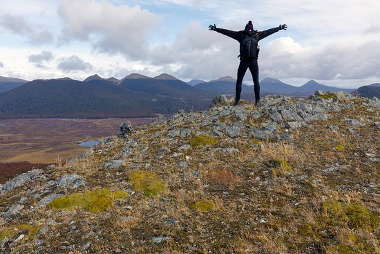 Tierra del Fuego, Chile: Alone on the top of a mountain (tripod selfie)