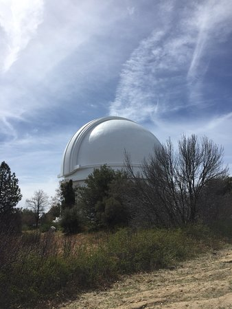 "Palomar Mountain, CA: Palomar Observatory houses the 200"" Hale Telescope with three smaller telescopes flanking the Ha"