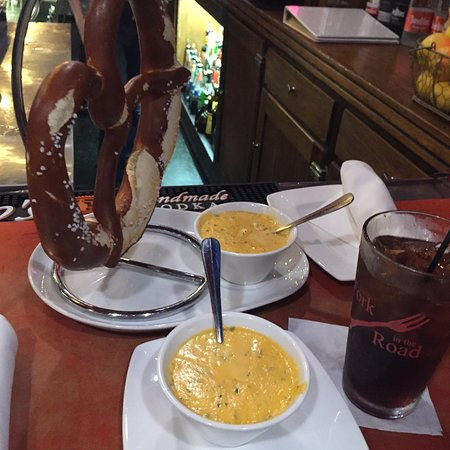 Mukwonago, WI: Big Pretzel with Cheese Sauce. Perfect for a shared appetizer while waiting for a table.
