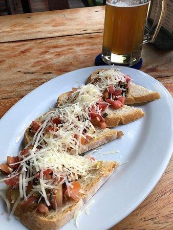 The Garden Cafe: bruschetta with a beer