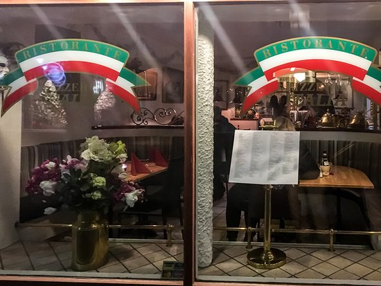Italia: Front of Restaurant with Menu on Display