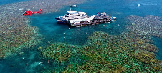 Cairns Region, Australia: Moore Reef double story deluxe pontoon on the outer Barrier Reef