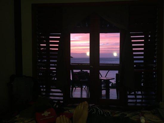 Nanuya, Fiji: sunset view from tree top burre