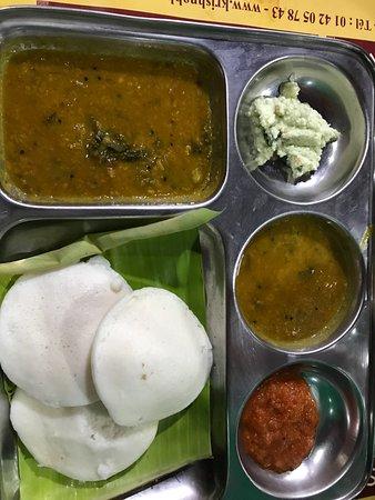 Krishna Bhavan: set of idly (rice pancake)