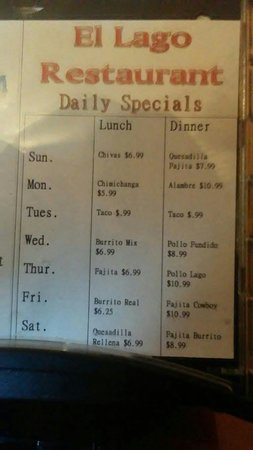 Reeds Spring, MO: Daily specials as of 04/15/2018