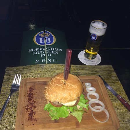 Now available in Munchen pub!Best 🍔 yum 😋 rush to try!